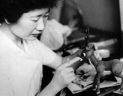 KYOKO KITA working on the original Rudolph puppet back in 1964!