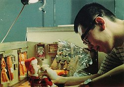 Tabata working on the Santa puppet