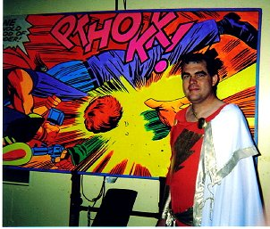 Rick as Captain Marvel at ALEX ROSS' ANNUAL HALLOWEEN PARTY