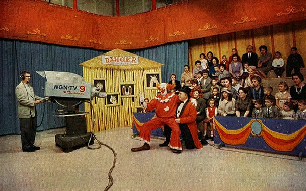 Behind the scenes at WGN's Bozo's Circus with Bob Bell as Bozo and Ned Locke as Ringmaster Ned