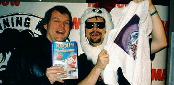 Rankin/Bass historian Rick Goldschmidt (left) and Q101's Mancow Muller (right).