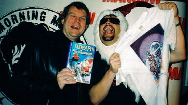 Rankin/Bass historian Rick Goldschmidt (left) and Q101's Mancow Muller (right) having some fun in front of the camera.