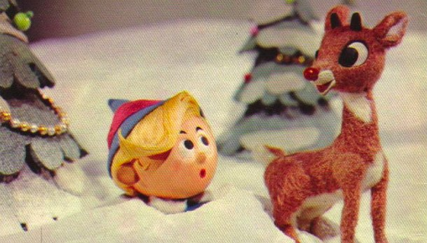 Hermy (left) and Rudolph (right) in Rankin/Bass' Rudolph The Red-Nosed Reindeer.