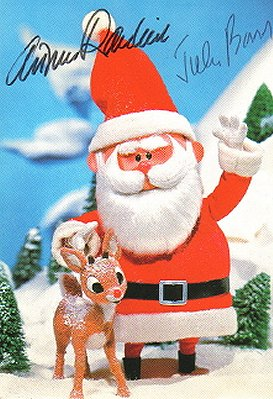 Rudolph and Santa postcard autographed by Arthur Rankin and Jules Bass!