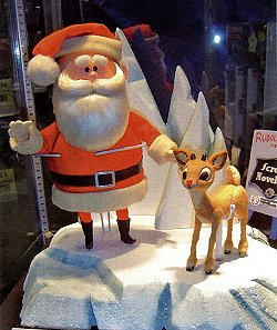 The newly restored original puppets of Santa and Rudolph from Rankin/Bass' 1964 holiday special Rudolph the Red-Nosed Reindeer.